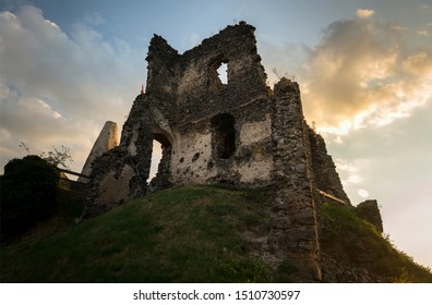 Somlo Castle at sunset, Somlo, Hungary