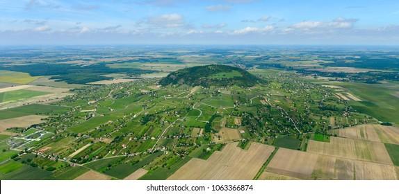 Somlo, Hungary aerial drone stock photo