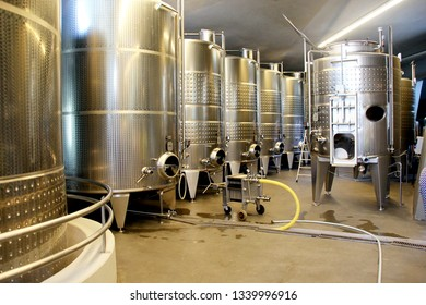 SOMLO, HUNGARY - AUGUST 16, 2018: Kreinbacher Birtok winery equipment at superior winery in Somlo.