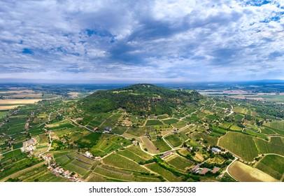 Somlo Hungary vineyard in wine region. Panorama photo of mountain of Somlo.