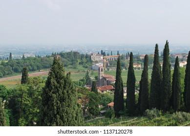 Sommacampagna, Verona, Veneto / Italy - May 14 2016: Village of Custoza from the Memorial.