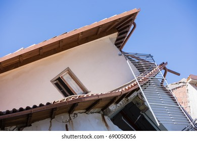 Sommati, Lazio, Italy 24 August 2016. Earthquake center of italy with magnitude 6.5 scale of richter scale. Its destructive force.