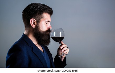 Sommelier, degustator with glass of red wine, winery, male winemaker. Beard man, bearded, sommelier tasting red wine. Man with a glass of wine in his hands.