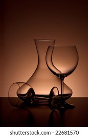 Sommelier glass backlited, elegant composition, top space for text