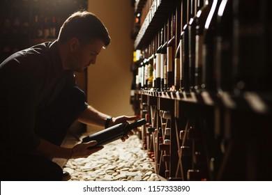 Sommelier taking one of bottles from wooden cellar
