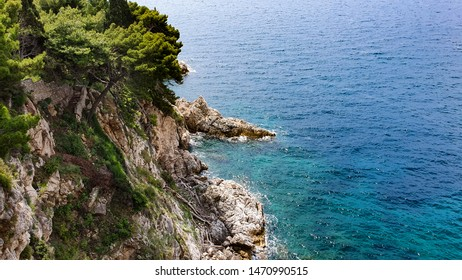 Sommer sea landscape with rock near from Dubrovnik, Croatia