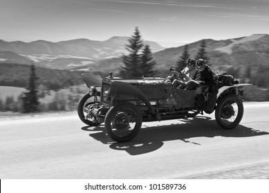 Dark Red Retro Car Isolated On White Background SOMMERALM AUSTRIA