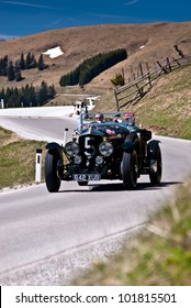 "SOMMERALM, AUSTRIA - APRIL 27:Alexander Gruber in a 1947  Bentley MK 6 Speed 8 participates in a rally for vintage cars ""Suedsteiermark Classic"" on April 27, 2012 in Sommeralm, Austria."