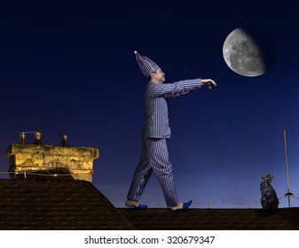 somnambulist in pajamas with sleeping hat walking on the roof, where sitting cat. Man in pajamas is sleepwalking. Somnambulist walking on the roof of the night with moon.