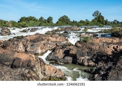 Somphamit Waterfalls or Liphi Waterfalls at Don Khone island , Laos near the cambodian border