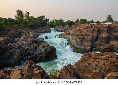Somphamit Waterfalls or Liphi Waterfalls at Don Khone island , Laos.