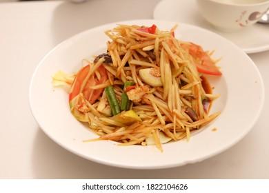 Somtum is Thai food very popular in Thailand. Taken by fujifilm xa-2. Taken from Thai restaurant in Melbourne.