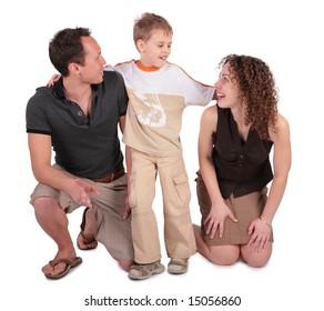 son embraces parents