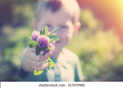 Son gives mom a bunch of purple clover