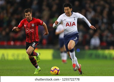 Son Heung-Min of Tottenham Hotspur and Cedric Soares of Southampton - Tottenham Hotspur v Southampton, Premier League, Wembley Stadium, London (Wembley) - 5th December 2018