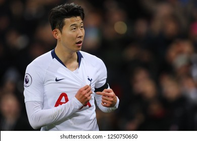 Son Heung-Min of Tottenham Hotspur celebrates after scoring his sides third goal - Tottenham Hotspur v Chelsea, Premier League, Wembley Stadium, London (Wembley) - 24th November 2018