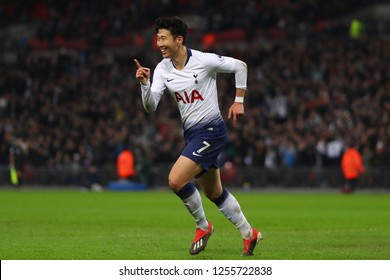 Son Heung-Min of Tottenham Hotspur celebrates after scoring his sides third goal - Tottenham Hotspur v Southampton, Premier League, Wembley Stadium, London (Wembley) - 5th December 2018