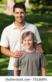 Son and his father in the park