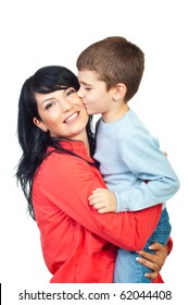 Son kissing his mother cheek and she smiling  isolated on white background