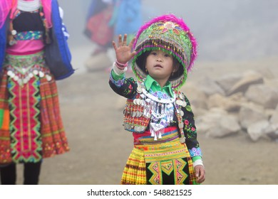 Son La, Vietnam: childrens wear beautiful costumes playing traditional games in the forest on Dec 29, 2016. this time is Tet Holiday of H'mong ethnic in Northen Vietnam
