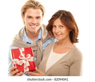 son makes a present
