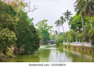 Son Tay, Viet Nam - April 21, 2018: A canal is running around Son Tay Ancient Citadel.