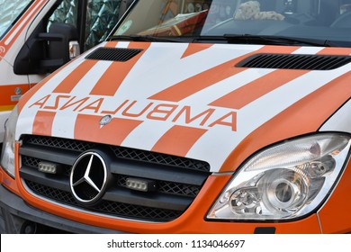 Sona, Italy: 11 July 2018: close up of ALS ambulance with specifics for the volunteer group left out. Narrative editorial for emergency services and health care.