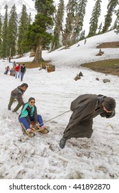 SONAMARG KASHMIR - CIRCA MAY 2016 - An unidentified Kashmiri man  pulls a tourist up the Thajiwas Glacier on a toboggan.