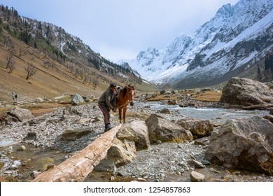 Sonamarg, Kashmir/ India - October 21, 2018: The landscape of Sonamarg with a horsemen tendering to his horse