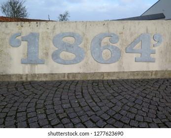 Sonderburg - Denmark, January 1, 2019: Front wall of museum to commemorate the Danish - German war of 1864