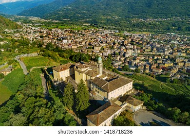 Sondrio - Valtellina (IT) - Aerial view of Sondrio and the Convent of S. Lorenzo