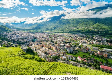 Sondrio - Valtellina (IT) - Overview with vineyards