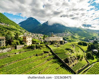 Sondrio - Valtellina (IT) - Overview of the vineyards and the Convent of San Lorenzo from the Sant'Anna district