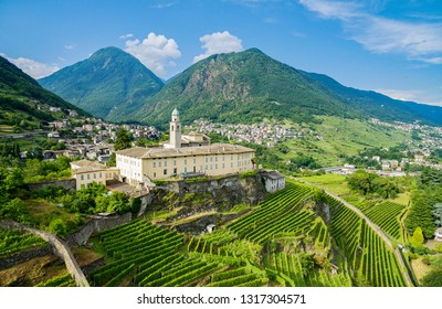 Sondrio - Valtellina (IT) - Overview of the vineyards and the Convent of San Lorenzo