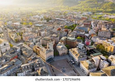 Sondrio - Valtellina (IT) - panoramic view of Piazza Garibaldi
