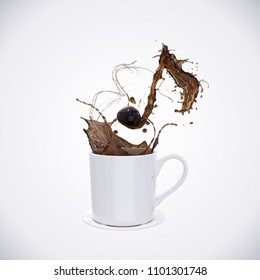 Song of Black Coffee splash with the shape of a melody, symbolic or Creative for celebration concept, with Clipping path 3d illustration.