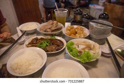 SONG FA BAK KUT TEH, SINGAPORE, SEPTEMBER, 2016: meals at Song Fa Bak Kut Teh Restaurant