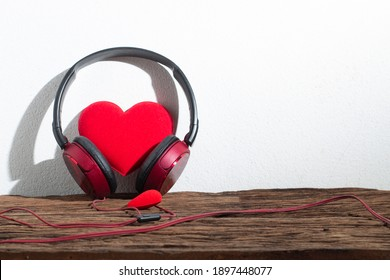 song headphone music with love red heart decoration in festive holiday season greeting of valentine's day gift wedding background