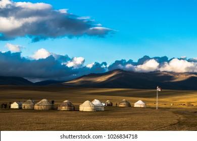 Song Kul lake in Kyrgyzstan, horses plains beauty