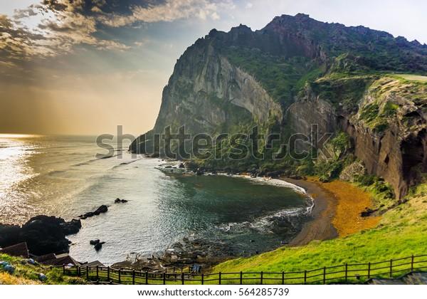 A Montanha Songaksan na Ilha de Jeju, na Coreia do Sul.