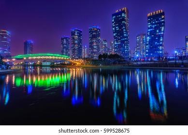 Songdo, Incheon, Night City, water reflection