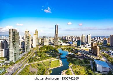Songdo, Incheon, South Korea - August 9th 2019: Urban Landscape of Songdo International Business District and Free Economic Zone, Incheon Metropolitan City, South Korea.