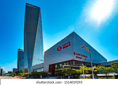 Songdo, Incheon, South Korea - August 9th 2019: The Posco Tower and Lotte Mart, Songdo International Business District and Free Economic Zone, Incheon Metropolitan City, South Korea.