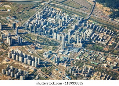 Songdo International Business District from the sky