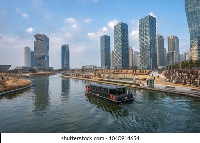 Songdo, Korea - December 17, 2016: Songdo International Business District (Songdo IBD). It is a new smart city built in Incheon, South Korea. And SIBD is a part of the Incheon Free Economic Zone.