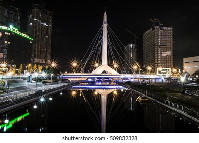 Songdo, Korea -October 22, 2014:City of the Future Songdo in night. Songdo Central Park in Songdo International Business District, Incheon South Korea.