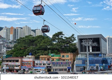 The Songdo Marine Cable Cars run across the sea at an altitude of up to 86 meters, allowing passengers to feel the thrill in the middle of the sea in Busan, Korea on 20 September 2017