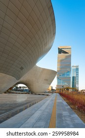 SONGDO, SOUTH KOREA -MAR 04:  Tri-bowl Building in Songdo district, Incheon, South Korea. This architecture is a remarkably shaped exhibition and performance space on March 04, 2015