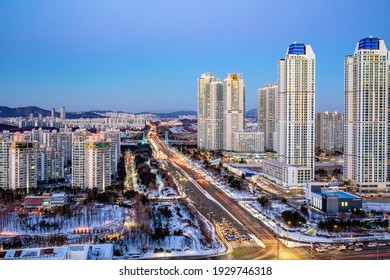Song-do, Yeonsu-gu, Incheon, South Korea - January 8, 2021: Night view of highrise apartments and buildings