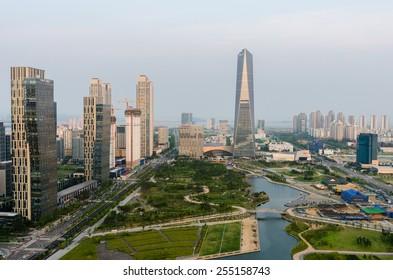SONGDO,SOUTH KOREA - July 16, 2014: Songdo Central Park in Songdo International Business District.Incheon,Korea